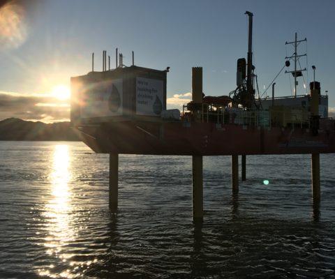 Wellington barge drilling 2